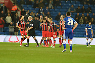 Harry Arter of AFC Bournemouth © celebrates with team mates after he scores his teams 1st goal. Skybet football league championship, Cardiff city v AFC Bournemouth at the Cardiff city stadium in Cardiff, South Wales on Tuesday 17th March 2015.<br /> pic by Andrew Orchard, Andrew Orchard sports photography.