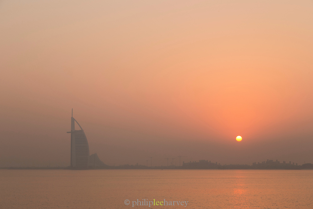 the Burj Al Arab, seen at dawn from The Palm, United Arab Emirates
