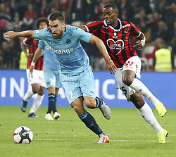 2018?10?22?.    ????????——??????????.    10?21????????????????????????????????.    ????2018-2019???????????????????????1?0?????.    ????????·?????...(SP)FRANCE—NICE-FOOTBALL-LIGUE 1-MARSEILLE VS NICE ..(181022) -- NICE, Oct. 22, 2018  Kevin Strootman (L) of Marseille vies with Wylan Cyprien of Nice during the match of French Ligue 1 2018-19 season 10th round between Marseille and Nice in Nice, France on Oct. 21, 2018. Marseille won 1-0 on the visiting field.  49738 (Credit Image: © Serge Haouzi/Xinhua via ZUMA Wire)