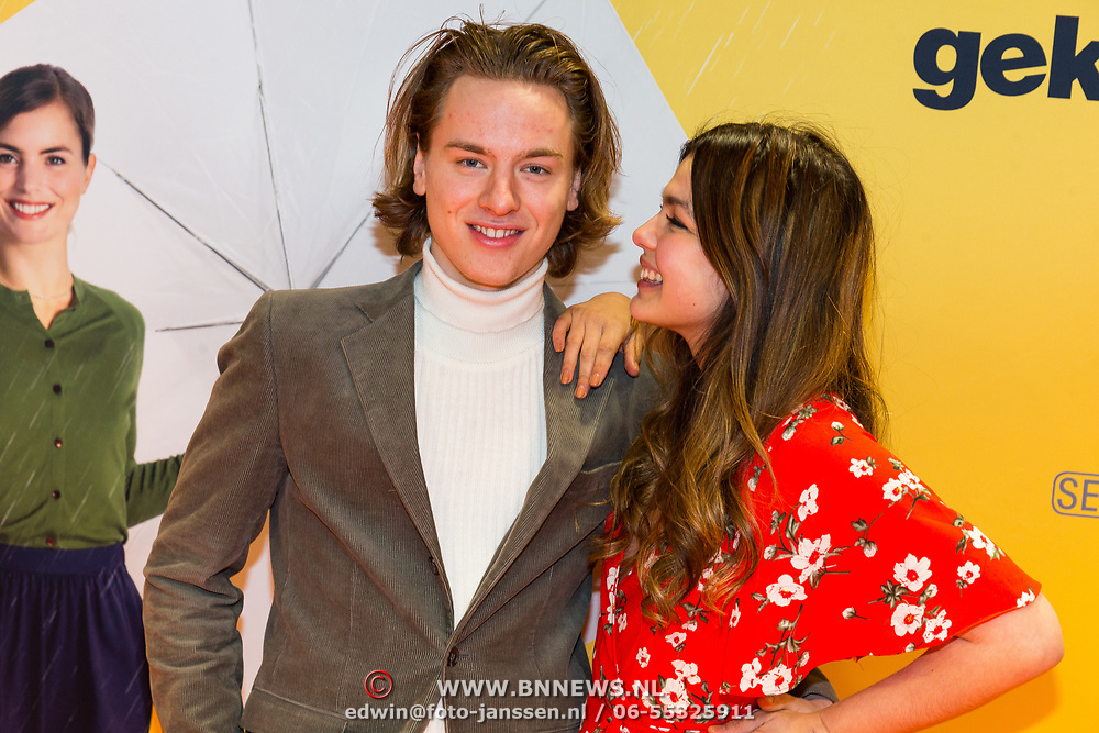 NLD/Amsterdam/20180212 - Premiere Gek op Oranje, Tobias Kersloot en Abbey Hoes