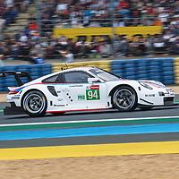 #94, Porsche GT Team, Porsche 911 RSR, LMGTE Pro, driven by: Mathiew Jaminet, Sven Muller, Dennis Olsen on 15/06/2019 at the Le Mans 24H 2019