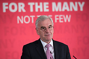 Rt. Hon. John McDonnell MP and Shadow Chancellor of the Exchequer speaks prior to Former City financier Professor Avinash Persaud launching a new policy paper in London on modernising the UKs existing financial transactions tax i.e. Robin Hood Tax on July 18th 2017 in London, United Kingdom. Speaking on a panel with Labours Shadow Chancellor John McDonnell, who has adopted the papers policy recommendations.