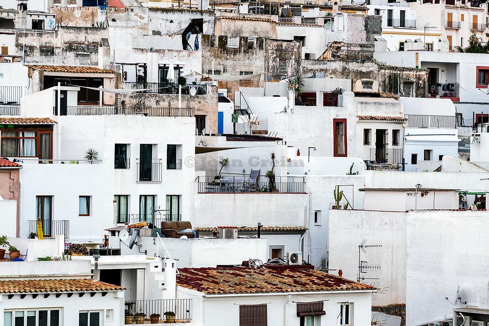 Crowded condos in Ibiza Town Eivissa, Balearic Islands, Spain.