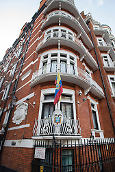 © Licensed to London News Pictures. 04/02/2016. London, UK. The Ecuadorian Embassy where Wikileaks founder Julian Assange is living.  A United Nations panel is due to decide if Julian Assange has been kept in 'unlawful detention' during his stay at the embassy for the past three-and-a-half-years. Photo credit: Peter Macdiarmid/LNP