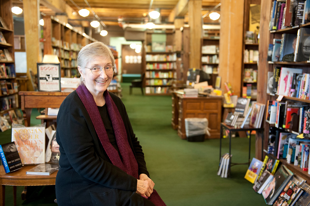 Portrait of the owner of the Tattered Cover Book store in her Denver, Colorado store.