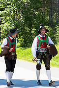Men in costume for traditional beer festival in the village of Klais in Bavaria, Germany