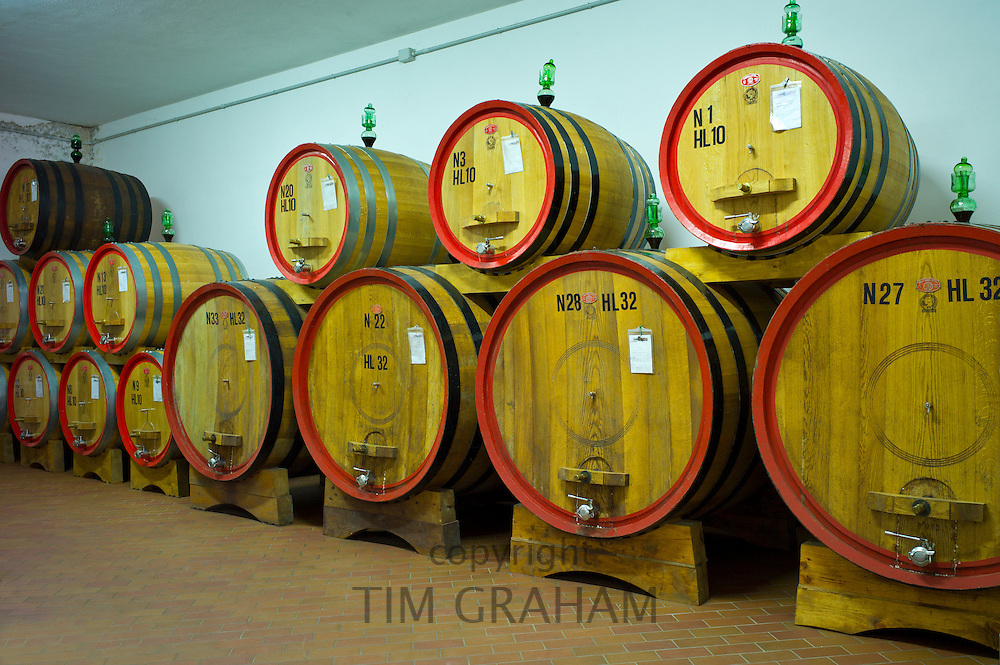 La Fornace Brunello di Montalcino wine stored in barrique barrels at the wine estate of La Fornace in Val D'Orcia, Tuscany, Italy