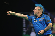Peter Wright during the Premier League Darts at Marshall Arena, Milton Keynes, United Kingdom on 5 April 2021.
