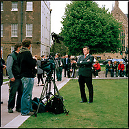 UK. London. The Village Green: From Blair to Brexit.<br /> A story on the relationship between the Media, Politicians and the public as they come together on College Green, a small patch of land next to The Houses of Parliament in Westminster. <br /> Photo shows an American journalist and film crew on the day Gordon Brown succeeded Tony Blair as Britain's Prime Minister.<br /> Photo ©Steve Forrest/Workers' Photos