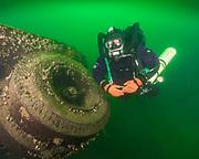 KISS Spirit rebreather diver at the trolley wreck at Dutch Springs, Scuba Diving Resort  in Pennsylvania