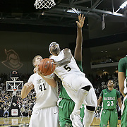 Central Florida guard Marcus Jordan (5) shoots during a Conference USA NCAA basketball game between the Marshall Thundering Herd and the Central Florida Knights at the UCF Arena on January 5, 2011 in Orlando, Florida. Central Florida won the game 65-58 and extended their record to 14-0.  (AP Photo/Alex Menendez)
