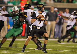 Oct 9, 2015; Huntington, WV, USA; Southern Miss Golden Eagles quarterback Nick Mullens drops back for a pass during the third quarter against the Marshall Thundering Herd at Joan C. Edwards Stadium. Mandatory Credit: Ben Queen-USA TODAY Sports