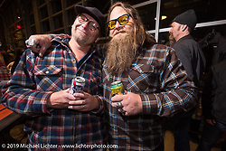 Bill Rodencal and Dumptruck Stroupe at the Harley-Davidson Museum Mama Tried Show pre-party. Milwaukee, WI. USA. Thursday February 22, 2018. Photography ©2018 Michael Lichter.
