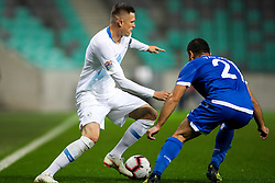 Josip Ilicic of Slovenia and Georgios Vasiliou of Cyprus during football match between National Teams of Slovenia and Cyprus in Final Tournament of UEFA Nations League 2019, on October 16, 2018 in SRC Stozice, Ljubljana, Slovenia. Photo by  Morgan Kristan / Sportida