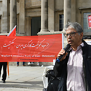 Trafalgar Square, London, UK. 2021-08-07. Workers-Communist Party of Iran protest for a decent pay conditions for Iranian oil workers - No to agency contractors in Iran.