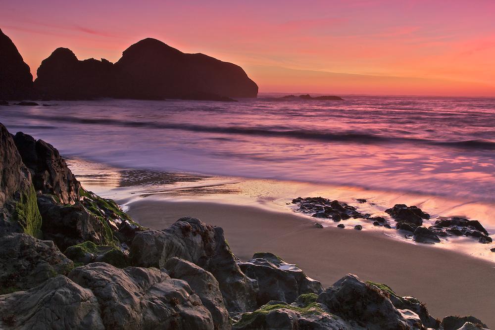 rodeo beach on the northern california coast near san francisco at sunset