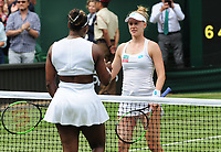Tennis - 2019 Wimbledon Championships - Week Two, Tuesday (Day Eight)<br /> <br /> Women's Singles, Quarter-Final: Alison Riske (USA) vs. Serena Williams (USA)<br /> <br /> Serena Williams at the net with Riske after winning the match, on Centre Court.<br /> <br /> COLORSPORT/ANDREW COWIE
