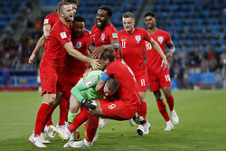 (l-r) Eric Dier of England, Jesse Lingard of England, Danny Rose of England, goalkeeper Jordan Pickford of England, Harry Kane of England, Jamie Vardy of England, Marcus Rashford of England during the 2018 FIFA World Cup Russia round of 16 match between Columbia and England at the Spartak stadium  on July 03, 2018 in Moscow, Russia