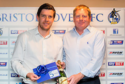 Bristol Rovers Manager Darrell Clarke with the winner of the fifth prize at the Sponsors Draw - Mandatory by-line: Robbie Stephenson/JMP - 15/04/2016 - FOOTBALL - The Memorial Ground - Bristol, England -  v  - Bristol Rovers Sponsor Draw