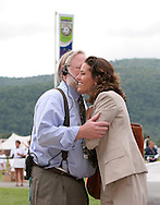 26 August 2007: 2007 inductee Julie Foudy (r) greets Hall of Fame Director of Museum and Archives Jack Huckel. The National Soccer Hall of Fame Induction Ceremony was held at the National Soccer Hall of Fame in Oneonta, New York.