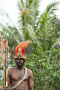 Man in traditional tribal dress, Miwa Village, Lake Murray, Middle Fly District, Western Province, Papua New Guinea