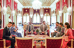 L-R : Morocco's Crown Prince Moulay Hassan, Duchess of Sussex Meghan Markle, King of Morocco Mohammed VI, Duke of Sussex Prince Harry of England, Morocco's Prince Moulay Rachid (or Rashid) and King's sisters Princesses Lalla Meryem and Lalla Hasnaa seen during a tea ceremony at the Royal Residence in Sale, near Rabat, Morocco on February 25, 2019. Photo by Balkis Press/ABACAPRESS.COM