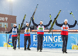 March 16, 2019 - –Stersund, Sweden - 190316 Johannes Thingnes Bø, Vetle SjÃ¥stad Christiansen, Tarjei Bø and Johannes Thingnes Bø of Norway celebrate on the podium after the Men's 4x7,5 km Relay during the IBU World Championships Biathlon on March 16, 2019 in Östersund..Photo: Petter Arvidson / BILDBYRÃ…N / kod PA / 92269 (Credit Image: © Petter Arvidson/Bildbyran via ZUMA Press)