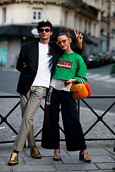 Street style, Dylan Sad and Claire Laffut arriving at Kenzo Spring-Summer 2019 menswear show held at Maison de la Mutualite, in Paris, France, on June 24th, 2018. Photo by Marie-Paola Bertrand-Hillion/ABACAPRESS.COM
