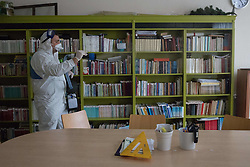 Staff members disinfect Yesilkoy Armenian School, in Istanbul, Turkey, on March 15, 2020. Turkey confirmed 6 cases of novel coronavirus infection in the country. Photo by Emirkan Corut/Depo Photos/ABACAPRESS.COM