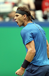 SHANGHAI, Oct. 13, 2017  Spain's Rafael Nadal reacts during the singles quarterfinal match against Bulgaria's Grigor Dimitrov at 2017 ATP Shanghai Masters tennis tournament in Shanghai, east China, on Oct. 13, 2017. (Credit Image: © Fan Jun/Xinhua via ZUMA Wire)