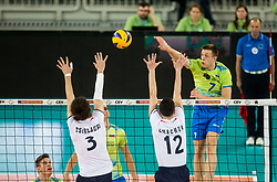 Tsiklauri and Chachua of Georgia vs Matej Kok of Slovenia during volleyball match between National teams of Slovenia and Georgia in 2nd Round of 2018 FIVB Volleyball Men's World Championship qualification, on May 24, 2017 in Arena Stozice, Ljubljana, Slovenia. Photo by Vid Ponikvar / Sportida