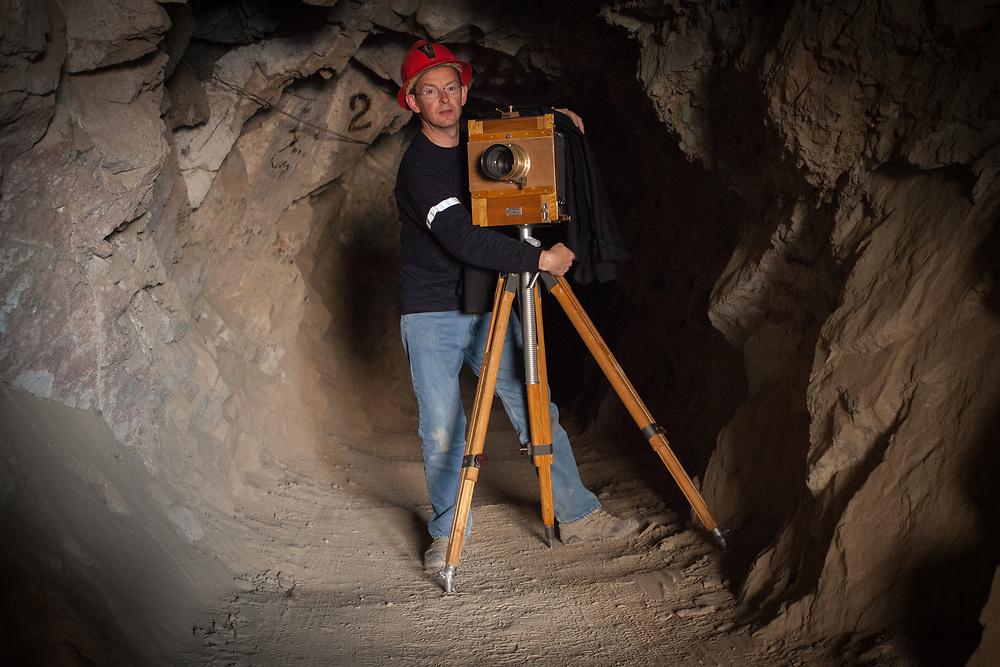 Sean Hawkey inside the gold mine at Santa Filomena, Ayacucho