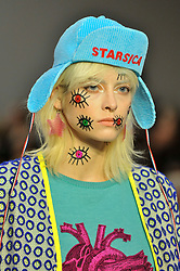 © Licensed to London News Pictures. 15/09/2017. London, UK. A model presents a look by Starsica at Fashion Scout in Covent Garden, one of the many venues hosting London Fashion Week SS18.  Photo credit : Stephen Chung/LNP
