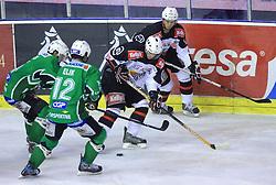 Igor Cvetek, Todd Elik of Olimpija, Rok Jakopic and Miha Brus of Jesenice at 39th Round of EBEL League ice hockey match between HDD Tilia Olimpija and HK Acroni Jesenice, on December 30, 2008, in Arena Tivoli, Ljubljana, Slovenia. Tilia Olimpija won 4:3. (Photo by Vid Ponikvar / SportIda).