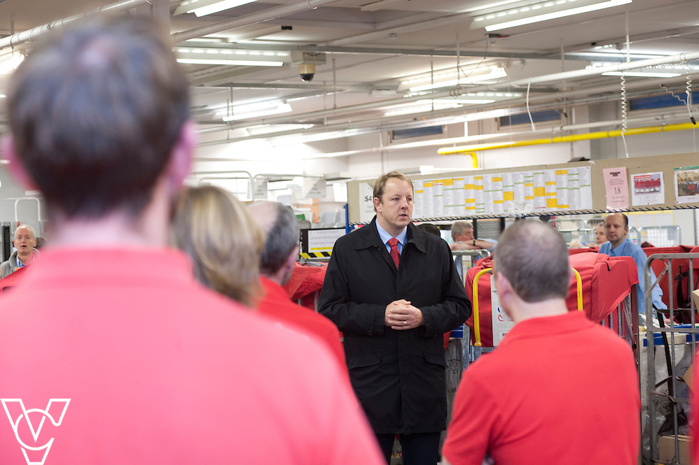 Toby Perkins MP talks to the whole workforce during his visit to the Royal Mail's Chesterfield Delivery Office, in Chesterfield.<br /> <br /> Date: November 28, 2014