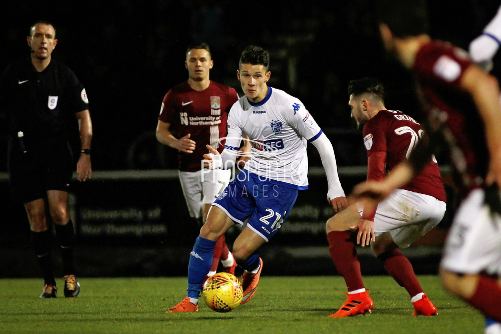 Bury Town's Mihal Dobre during the EFL Sky Bet League 1 match between Northampton Town and Bury at Sixfields Stadium, Northampton, England on 25 November 2017. Photo by Nigel Cole.