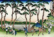 Travellers at Hodogaya on the Tokaido Road, Mount Fuji in background.  From 'Thirty-six Views of Mount Fuji', c1831. Katsushika Hokusai (1760-1849) Japanese Ukiyo-e artist.  Transport Horse Sedan Chair Pedestrian Tree Pine Landscape
