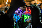 """The gathering in Trafalgar Square is pretty friendly but with a strong police presence - The Million Mask March - anti-establishment protesters in V for Vendetta-inspiredGuy Fawkes masks march from Trafalgar Square to Parliament Square. It was organised by Anonymous, the anarchic 'hacktivist' network. The movement is also closely identified with the Occupy protests, Wikileaks, and the Arab Spring. The UK Anonymouswebsitedescribes the march on Parliament as a """"protest against austerity … the infringement of our rights … mass surveillance … war crimes … corrupt politicians."""" 05 N0ov 2016"""
