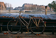A ladies' bike is locked up to riverside railing on the river Seine in Paris. At dawn, brown autumn leaves are ruslting on the ground and on the roof of a barge that is moored on the left bank of the French capital. Opposite are the majestic buildings of the Isle-de-France prefecture.