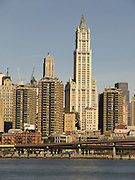 Woolworth building seen from pier at downtown Brooklyn