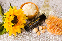 Beeswax chapstick with sunflower.