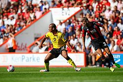 Gabriel Agbonlahor of Aston Villa gets away from Simon Francis of AFC Bournemouth - Mandatory by-line: Jason Brown/JMP - Mobile 07966 386802 08/08/2015 - FOOTBALL - Bournemouth, Vitality Stadium - AFC Bournemouth v Aston Villa - Barclays Premier League - Season opener