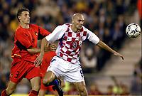 Fotball<br /> EM-kvalifisering<br /> 10.09.2003<br /> Belgia v Kroatia<br /> NORWAY ONLY<br /> Foto: Phot News/Digitalsport<br /> <br /> TIMMY SIMONS / IVICA MORNAR