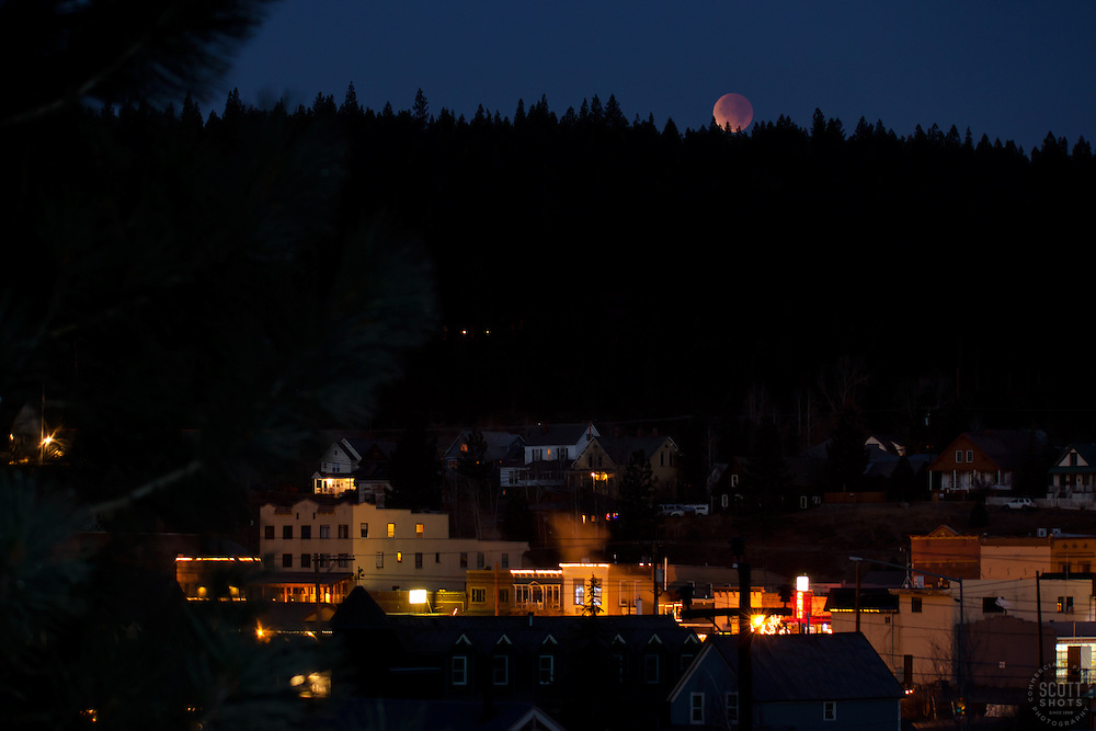 """Lunar Eclipse over Downtown Truckee, CA. 1"" - Photograph of the December 10th, 2011 lunar eclipse over Downtown Truckee, California."