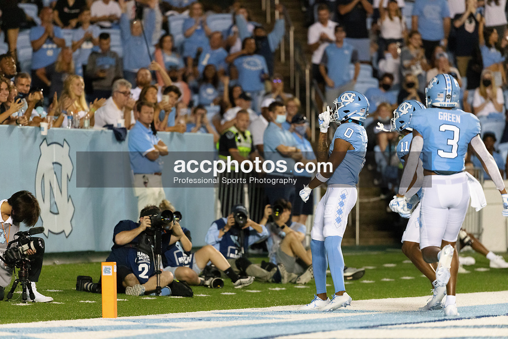 CHAPEL HILL, NC - SEPTEMBER 11: Emery Simmons #0 of the North Carolina Tar Heels plays during a game against the Georgia State Panthers on September 11, 2021 at Kenan Stadium in Chapel Hill, North Carolina. North Carolina won 59-17. (Photo by Peyton Williams/Getty Images) *** Local Caption *** Emery Simmons