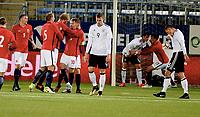 Fotball , 10 . oktober 2017 ,  EM-kvalik U21<br /> Norge - Tyskland<br /> Euro U21 - Qualification<br /> Norway - Germany<br /> Felix Platte 9 ,  , Germany<br /> scoring Morten Thorsby 9, Norge<br /> Martin Ødegaard , Martin Odegaard 10 , Norway