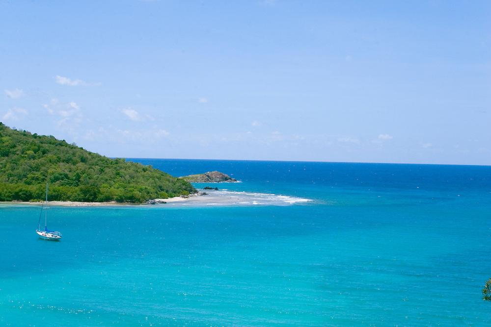 Sailboat on the water, located in the Fish Bay, Caribbean Sea, St. John, U.S. Virgin Islands.