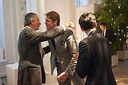 ARNAUD BAMBERGER; BEN ELLIOT; FRANCOIS LE TROQUER, Cartier Tank Anglaise launch. Kensington Palace Orangery, London.  19 April 2012.
