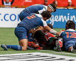 March 10, 2018 - Vancouver, British Columbia, U.S. - VANCOUVER, BC - MARCH 10: Oscar Ouma (#3) of Kenya scores after tunneling through the scrum during Game # 3- Kenya vs France Pool C match at the Canada Sevens held March 10-11, 2018 in BC Place Stadium in Vancouver, BC. (Photo by Allan Hamilton/Icon Sportswire) (Credit Image: © Allan Hamilton/Icon SMI via ZUMA Press)