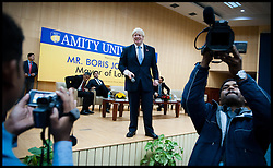 London Mayor Boris Johnson holds question and answer session with students of Amity University in Uttar Pradesh near Delhi, on the second day of a six-day tour of India, where he will be trying to persuade Indian businesses to invest in London, Monday November 26, 2012. Photo by Andrew Parsons / i-Images